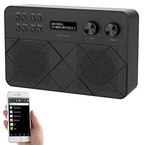 VR-Radio portables Internetradio: Mobiles Stereo-Internetradio mit LCD, 2 Weckzeiten und App, 12 Watt (Internetradio tragbar)