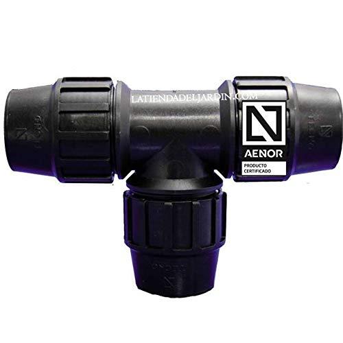 Suinga TE IGUAL POLIETILENO 20MM. Producto con certificado AENOR utilizado en tuberías PE 20 mm para uso fontanería, riego y obras.