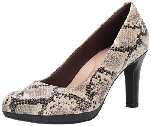 Clarks Women's Adriel Viola Pump, Taupe Synthetic Snake Print, 80 M US
