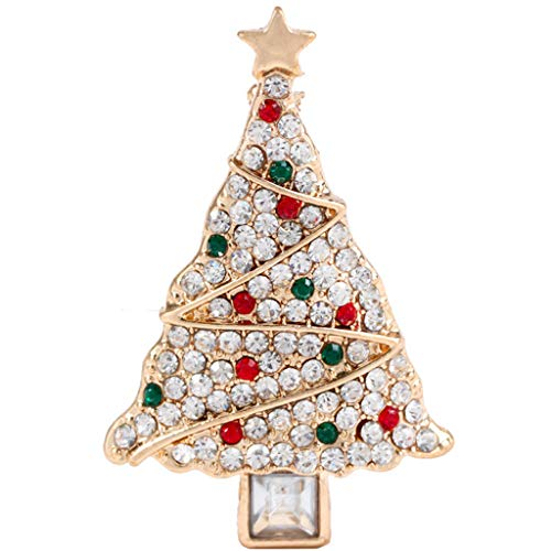 NKDD Jewelry Rhinestone Christmas Tree Brooch Alloy Lapel Pin Shawl Clip Xmas Gifts Brooch Pin Gold+Clear+Green+Red