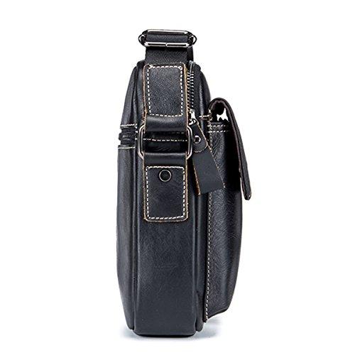 Men's Small Shoulder Bag, E Ekphero Genuine Leather Bag, Retro lightweight Cross Body Everyday Satchel Bag for Business Casual Sport Hiking Travel black middle