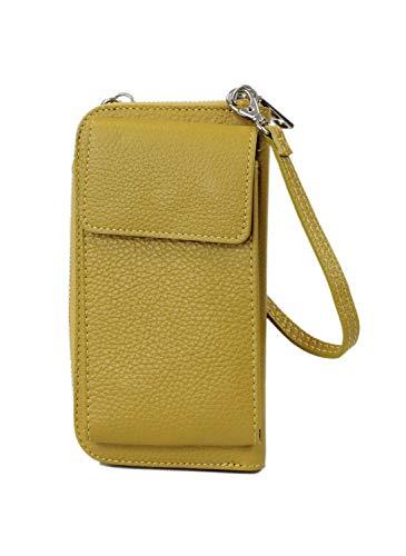 irisaa kleine Damen Leder Umhängetasche Schultertasche - Echtleder Crossbody Handtasche Geldbörse Handy Mini-Tasche Brieftasche mit Verstellbarem Schultergurt, Multifunktion, Damen Tasche:Gelb