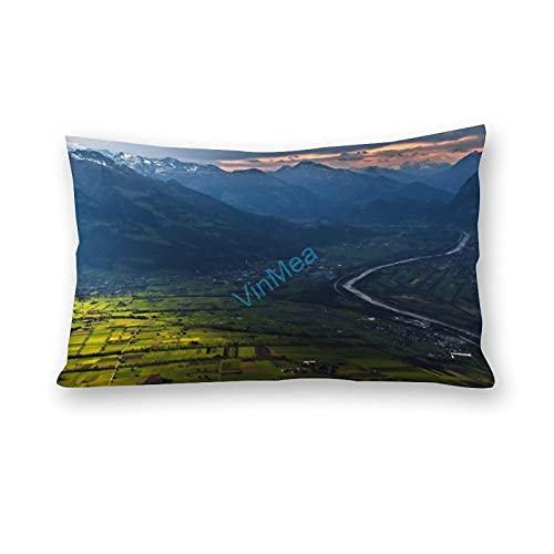 Funda de almohada de algodón y poliéster con estampado de río largo en el valle, para sofá, sala de estar, funda de almohada de 30 x 60 cm