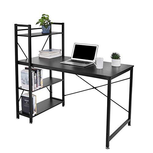 Escritorio de madera para ordenador, 120 x 60 x 120 cm, mesa de ordenador con estantes, mesa de oficina, mesa de oficina, mesa de construcción estable, mesa con estantería y torre
