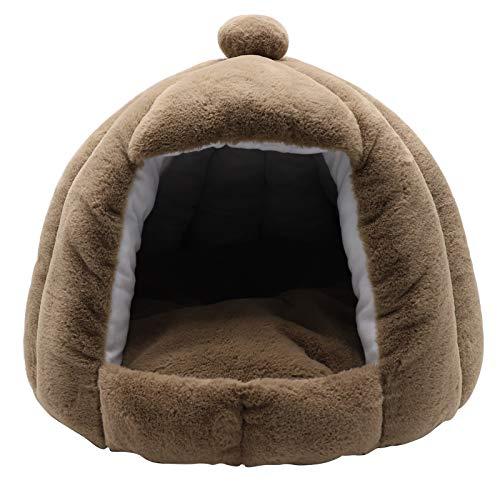 Trirock Cama tipo domo para mascotas con cojín lavable, marrón, iglú antideslizante para perros pequeños, gatos que duermen en todas las estaciones