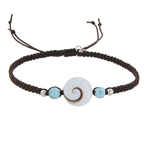 Schmuck Les Poulettes - Armband Geflochten Link Runde St. Lucia Augen und Larimar Perlen - Dunkelbraune