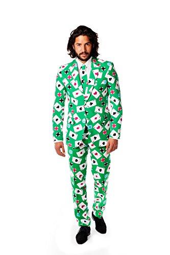 Opposuits OSUI-0011-EU60 - Poker Face Kostüm, Casino Anzug, Größe 60, mehrfarbig