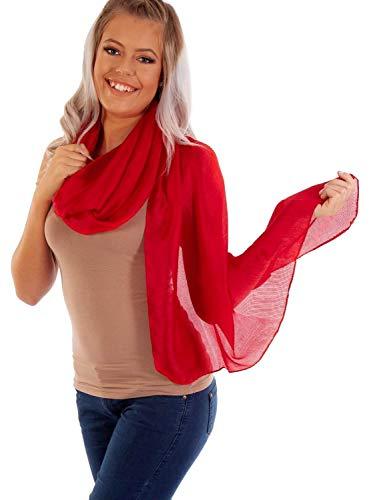 DOLCE ABBRACCIO by RiemTEX ® Schal Damen PRIMA DONNA Stola Tuch aus Wildseide im klassischen Rot Tücher in 31 Unifarben Halstücher Seidentuch Schals Damen Halstuch Seidenschal (Rot)