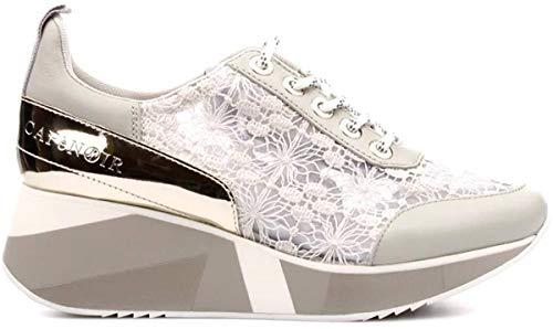 CafèNoir Donna Sneakers in Pizzo con Zeppa Decorata Collezione 2019 (37 EU, Grigio)
