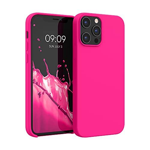 kwmobile Hülle kompatibel mit Apple iPhone 12 Pro Max - Hülle Handyhülle gummiert - Handy Hülle in Neon Pink