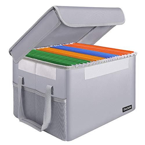 DocSafe Caja de archivos, a prueba de fuego, organizador de archivos con tapa, plegable, para colgar cartas/carpeta legal, portátil, para el hogar, oficina, caja fuerte con asa, color plateado