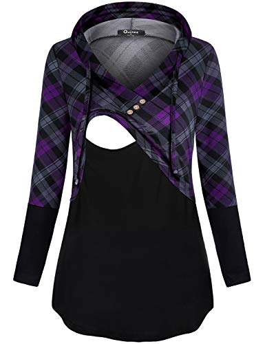 Fall Maternity Clothes, Quinee Womens Long Sleeve V Neck Tops Nursing Blouses for Breastfeeding Mothers Thin Sweatshirts Contrast Postpartum Pullover Hoodies Black Purple Plaid S