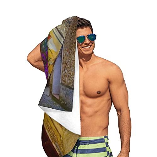 "Toalla de Playa de Microfibra,Casco Antiguo mediterráneo,Toalla de baño Extragrande sin Arena Manta de Viaje Natación Camping para Adultos Hombres Mujeres, 52 ""x 32"""