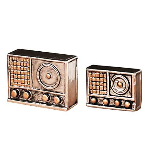 Healifty Miniature Radio Mini Retro Modello in Resina Ornamenti per Desktop Modello Antico casa delle Bambole Decorazione per l'ornamento del Giardino 2 pz