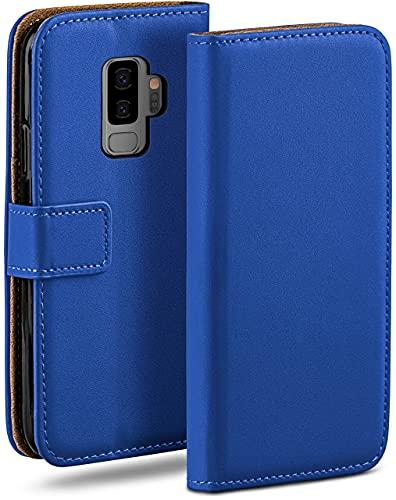 moex Klapphülle kompatibel mit Samsung Galaxy S9 Plus Hülle klappbar, Handyhülle mit Kartenfach, 360 Grad Flip Hülle, Vegan Leder Handytasche, Blau