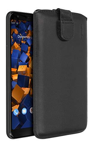 mumbi Echt Ledertasche kompatibel mit Google Pixel 3a XL Hülle Leder Tasche Hülle Wallet, schwarz