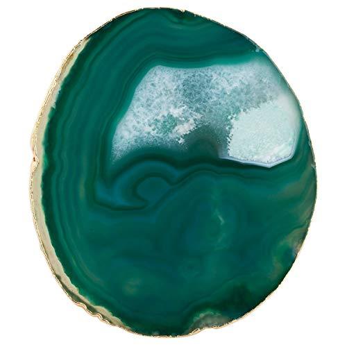 mookaitedecor Poliert Natürliche Geode Achat Platten Tisch Untersetzer Set (2 Stück), Dekorative Stein untersetzer für Glas, Tassen, Vasen, Kerzen, Servierplatten Namen Karten für Hochzeit