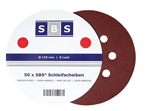 50 Stück SBS Klett-Schleifscheiben Ø 125 mm Körnung 60 für Exzenter-Schleifer 8 Loch