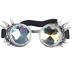 Materials:lens are PC,frames are imported ABS; One Size - Adjustable elasticated head band Rainbow Crystal Lens with a light burst of vivid colors; Kaleidoscope Steampunk Goggles perfect for fantasy and fun Additional Clear 50mm lens included allowin...