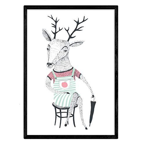 Nacnic poster paraguas.Lámina deCiervo met kleurrijke dieren. A3-formaat