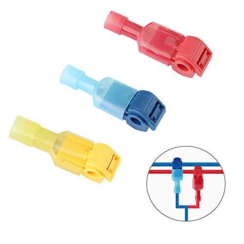 Aiqeer 100 Stück (50 Paare) T-Tap Elektrische Steckverbinder Set, T-Tap Drahtverbinder, T-Abzweigverbinder Schnellverbinder und Vollisolierter Flachstecker Kit (Rot, Blau, Gelb)