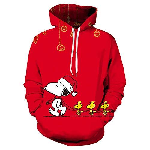 Jonp Pullover Hoodie Sudaderas con Capucha 3D Impresión con Capucha Unisex Ropa Deportiva Cosplay Sweatshirt Manga Larga Sweater Hoody Sudaderas Jerséis Chaquetas Snoopy