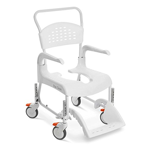 Etac Clean - Silla de ducha y WC (altura regulable, 47,5 cm - 60 cm), color blanco