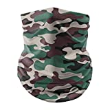 Anni Coco Summer Neck Gaiters UV Protection Cooling Bandanas Face Cover, Ultra Thin Balaclavas for Women Men Outdoors-Camouflage Coffee