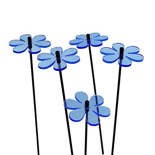 SunCatcher Margerite Zonnevanger, 5-delige set, fluorescerende tuindecoratie, diameter 6 cm, met 25 cm staaf, 5 kleuren, meer kleur voor je tuin, het hele jaar Tuinsteker cadeau. blauw