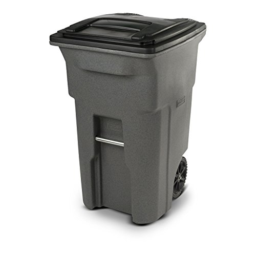 Toter 79264-R1129 64 Gallon Graystone Trash Can with Wheels and Attached Lid