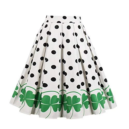 Más el tamaño de Audrey Hepburn oscilación Grande de Pista Retro Faldas 50S 60S 40S de los Lunares de la Cereza de la impresión Floral de la Falda de Cintura Alta de Verano Informal 1 L