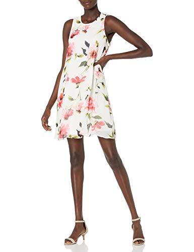 Tommy Hilfiger Damen Printed Chiffon Trapeze Dress Kleid, Elfenbein/Ballerina-Rosa, 38