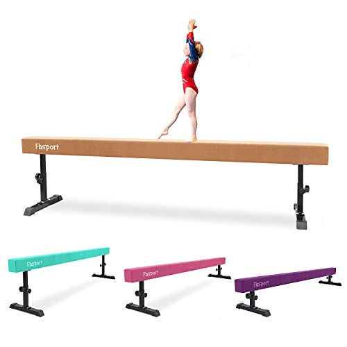 FBSPORT Balance Beam: Folding Floor Gymnastics Equipment for Kids Adults,Non Slip Rubber Base, Gymnastics Beam for Training, Practice, Physical Therapy and Professional Home Training (Brown, 8)