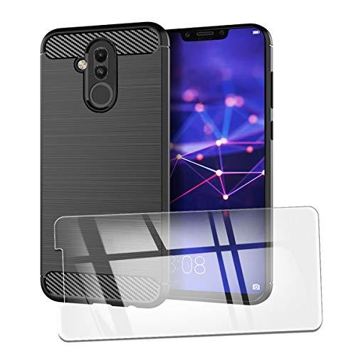 QFSM Funda + Cristal Templado para Huawei Mate 20 Lite Silicona Carcasa TPU Anti-Knock Fibra de Carbono Cover Case, HD Película Protectora Cristal Templado Pantalla Glass