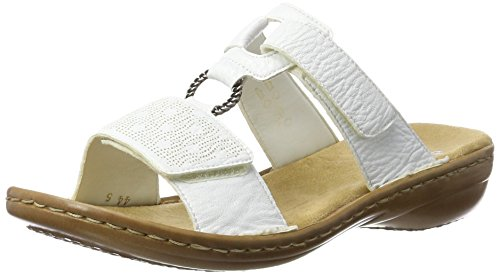 Rieker Damen Sandalen 60885, Frauen Clogs, Pantoletten, Women's Woman Freizeit leger Slipper Slides hauschuh Dame-n,Weiss / 80,39 EU / 6 UK