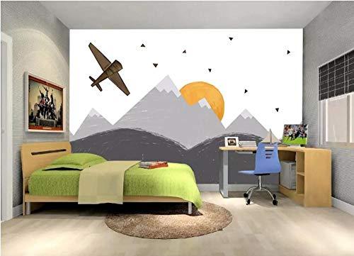 Tapeten Wandtattoos Wandbilder 3D Wall Mura Fototapeten Kinderzimmer Flugzeuge Berg Leinwand Kontaktpapier @ 400 * 280Cm