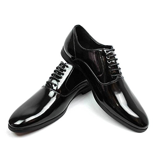Men's Tuxedo Shoes Patent Leather Traditional Round Toe Lace Up Oxfords AZAR (9.5 U.S (D) M, Black)