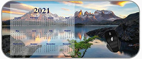 XXL Large 2021 Calendar Mouse Pad Lake Nature Mountain Reflection Extended Gaming Mouse Pad