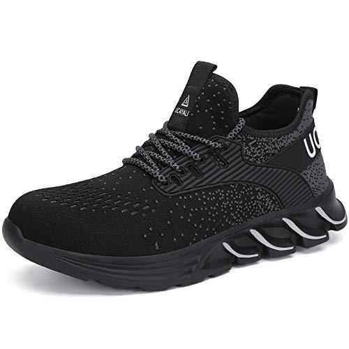 UCAYALI Zapatos de Seguridad Hombre Zapatos de Trabajo Mujer Zapatillas de Seguridad con Punta de Acero Zapatos Protección Negro N Gr.43