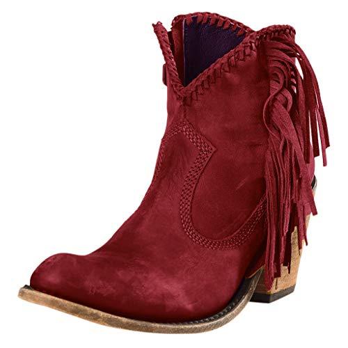 Frauen Winter Warme Stiefeletten Retro Einfarbig Mit Fransen Leder Flache Stiefel Mit Niedrigem Absatz rutschfeste Stiefeletten Schuhe(35.5 EU,Rot)
