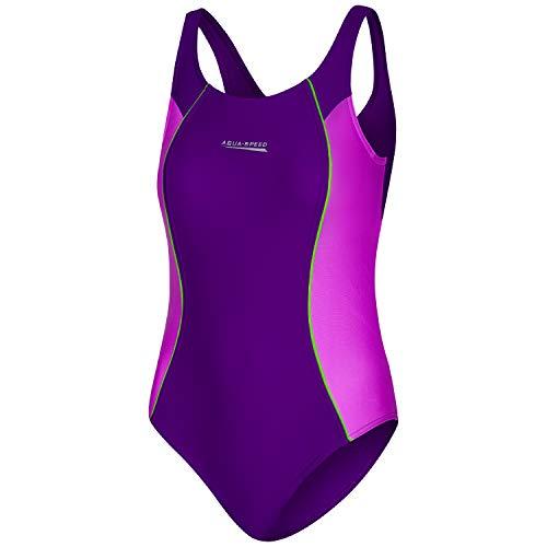 Aqua Speed Beach Swimsuits Mädchen Kind | sportlicher Badeanzug Kinder | Mädcheneinteiler mit UV-Schutz | Sport | Schwimmanzug | Violet - Dark Violet - Green - 48 | Gr. 146 cm | Luna