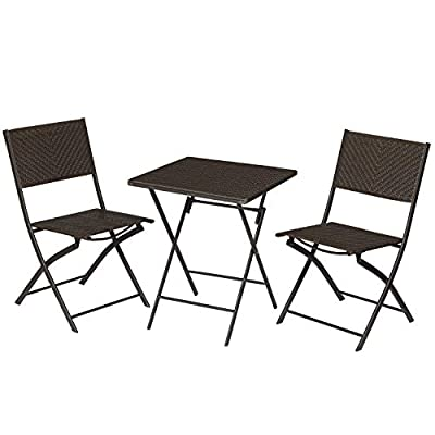 SONGMICS 3-Piece Small Balcony Patio Bistro Set, Foldable Outdoor Patio Table and Chairs Seating Set, PE Rattan, Steel Frame, No Assembly Required,Expresso UGGF012K01