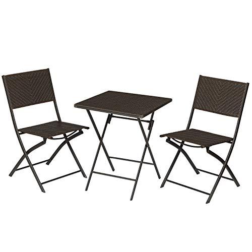SONGMICS Gartenmöbel-Set, 3er Set, Terrassenmöbel, Balkonmöbel, Klapptisch, Klappstühle, aus Polyrattan, Stahlgestell, klappbar, Keine Montage erforderlich, für Outdoor, kaffeebraun GGF012K01