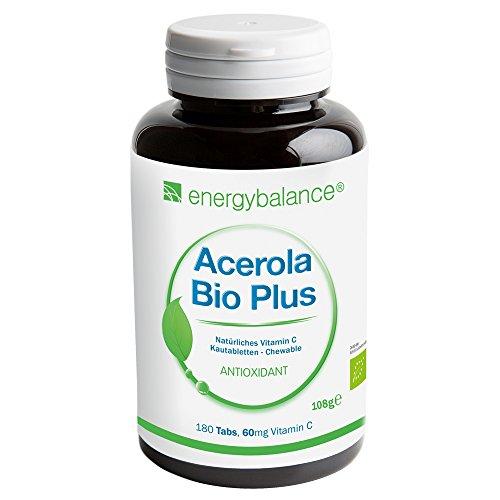 ACEROLA Bio Plus | la vitamina C orgánica 60mg | top ingesta | popular entre los niños | Vegano | sin gluten | sin OGM | 180 Lutschtabs