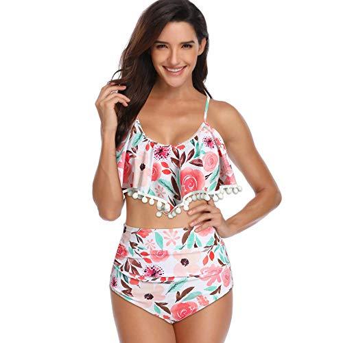Bikinis Bañador Mujer S-3Xl Enlarge Lace Cintura Alta Color Flor Encaje Decoración Mujeres Bikini Traje De Moda Traje De Baño Sexy Ropa-1_M
