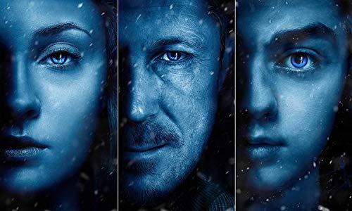WOAIC Game of Thrones Season 7 Sansa Arya Stark Petyr Baelish Pósteres For Bar Cafe Home Decor Painting Wall Sticker Frameless 24X36 Inch(60X90CM)