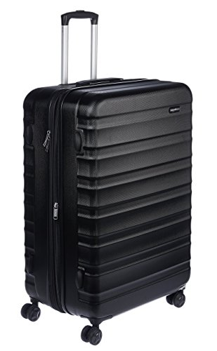 Amazon Basics - Valigia Trolley rigido con rotelle girevoli, 78 cm, Nero