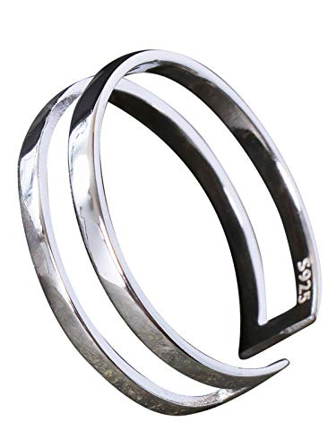NicoWerk Damen Silberring Schlicht aus 925 Sterling Silber Schmal Bandring Doppelreihig Glatt Durchbrochen Verstellbar Offen SRI637