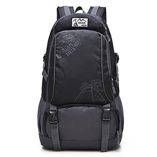Léger randonnée sac à dos extérieur grande capacité loisir imperméable à l'eau voyage alpinisme Camping vélo aventure sac à dos bandoulière H52 x L32 x T18 cm , black