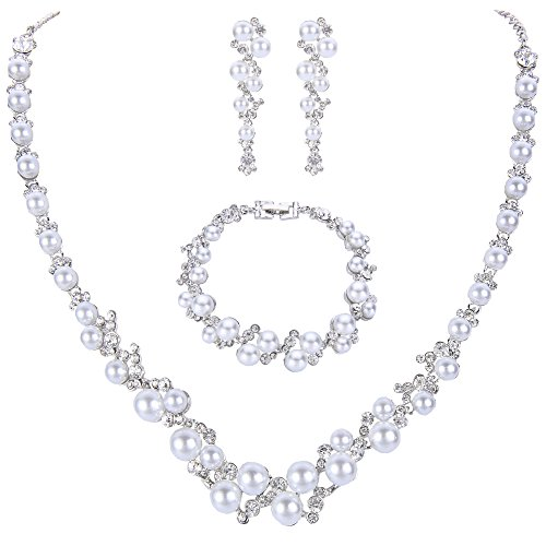 EVER FAITH Simulated Pearl Crystal Bridal Necklace Earrings Bracelet Set Silver-Tone White